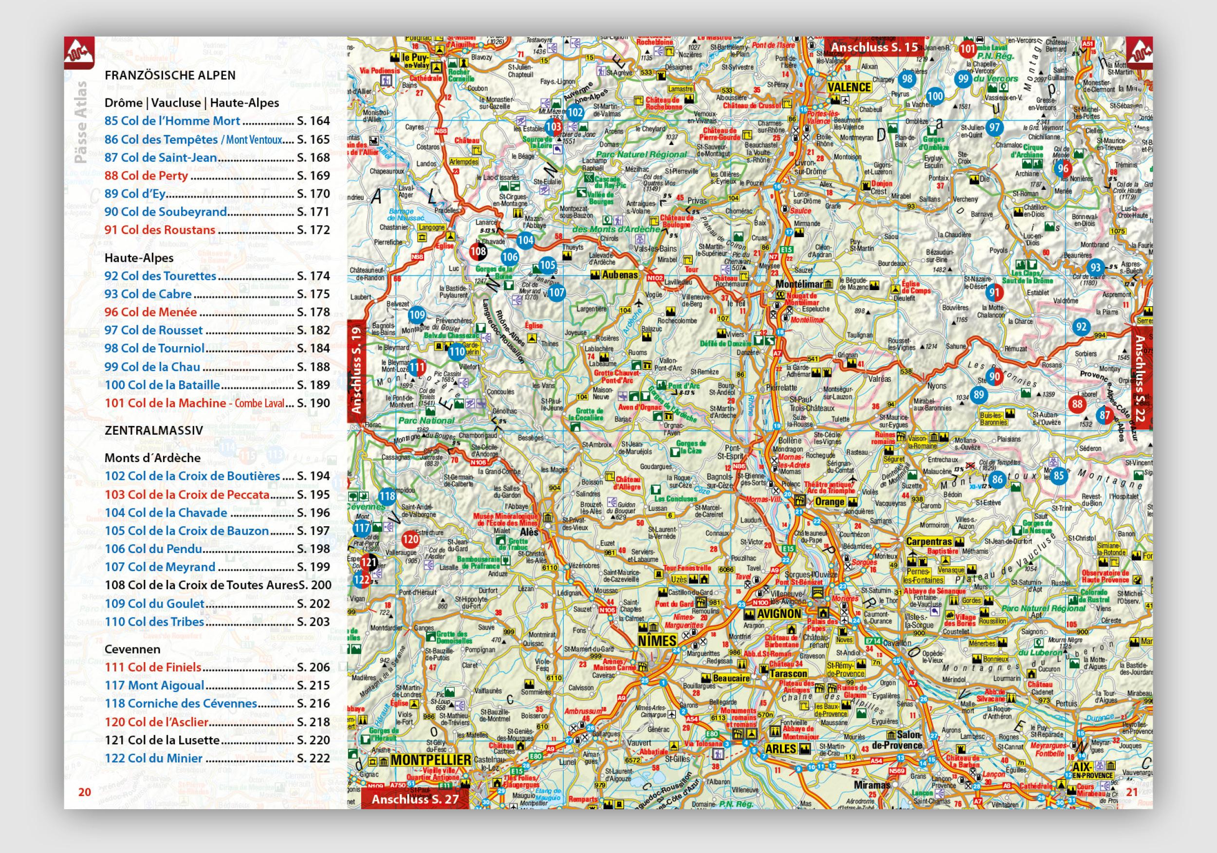 Alpenpässe Karte.Neu Pässe Atlas 2019 Frankreich 183 Pässe Und Panoramastraßen